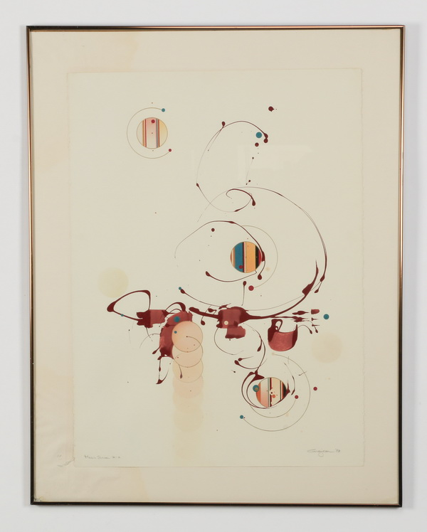 David Grojean signed, mixed media on paper, 36