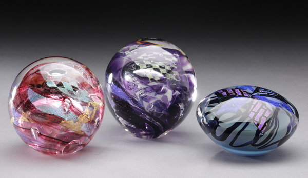 (3) Art glass paperweights, each signed