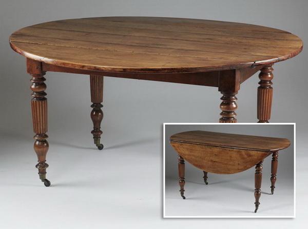 19th c. French walnut drop leaf table, 54