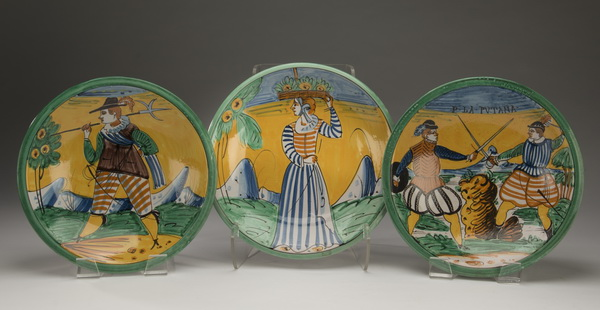 (3) French hand painted ceramic bowls, 13