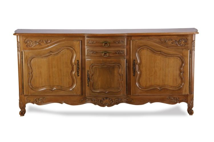 French Provincial carved walnut server, 88