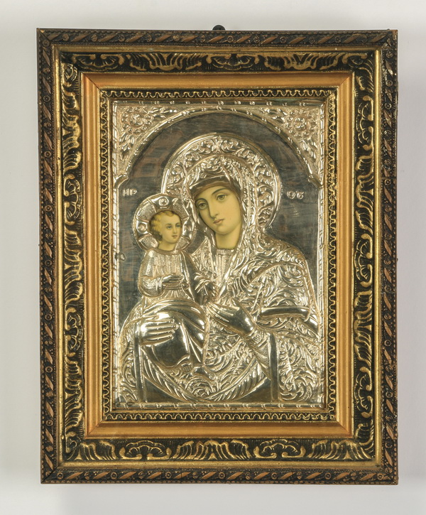 Greek Orthodox icon of Theotokas, framed