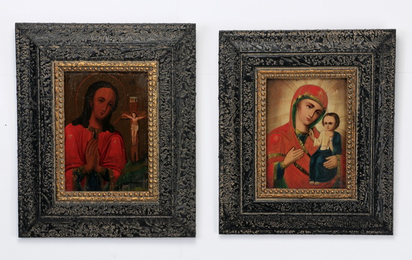 (2) Russian icons in black frames