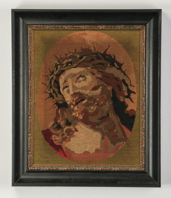 French framed needlepoint of Christ