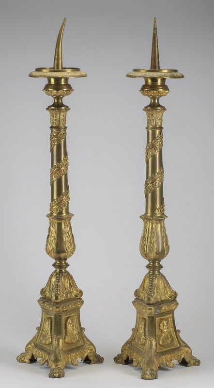 (2) Gilt bronze pricket sticks, 22