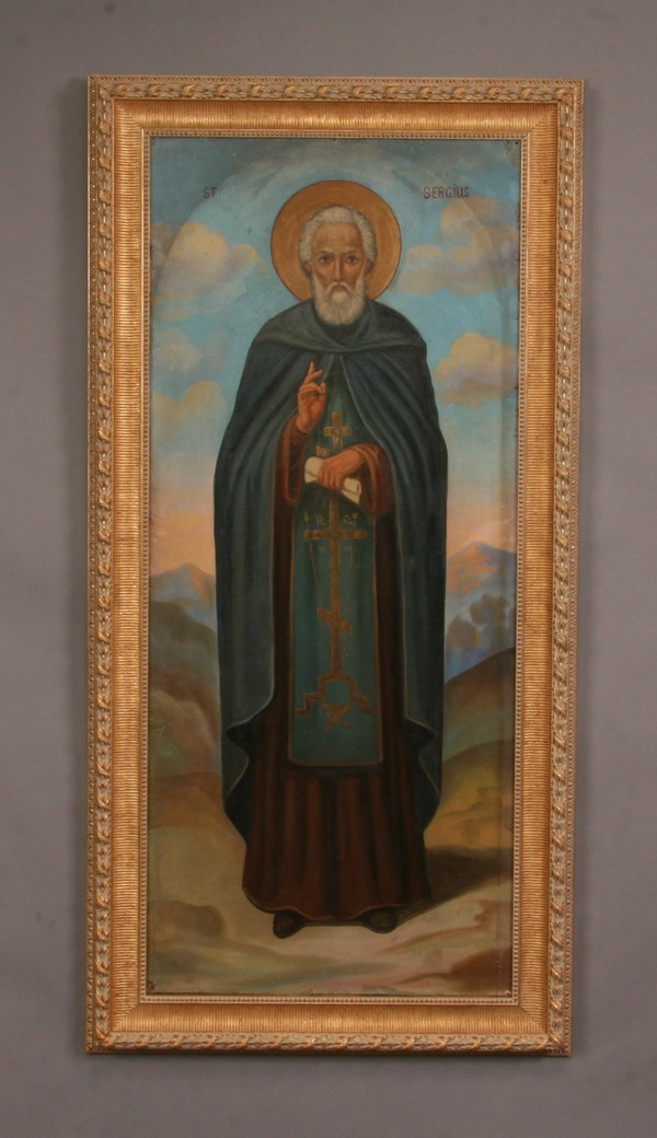 Oversized early 20th c. O/c icon, St. Sergius