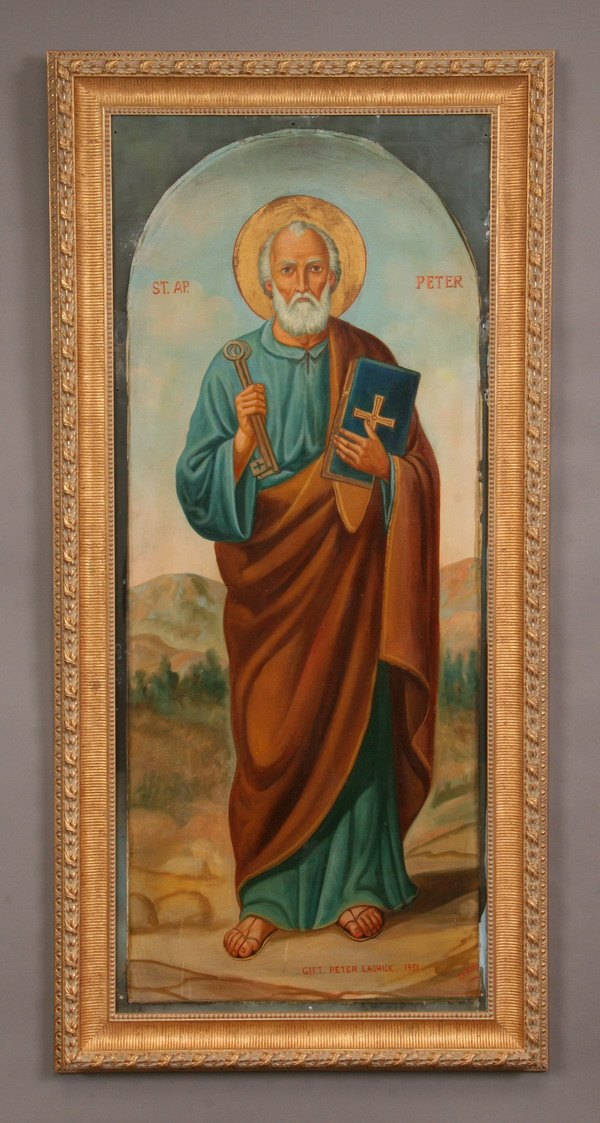 Oversized early 20th c. O/c icon, St. Peter, 68