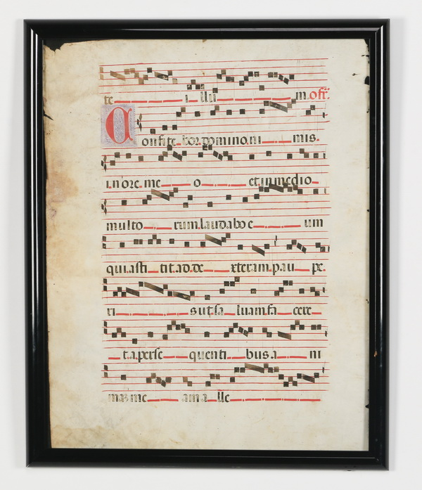 (2) Gregorian Antiphonal manuscripts on vellum