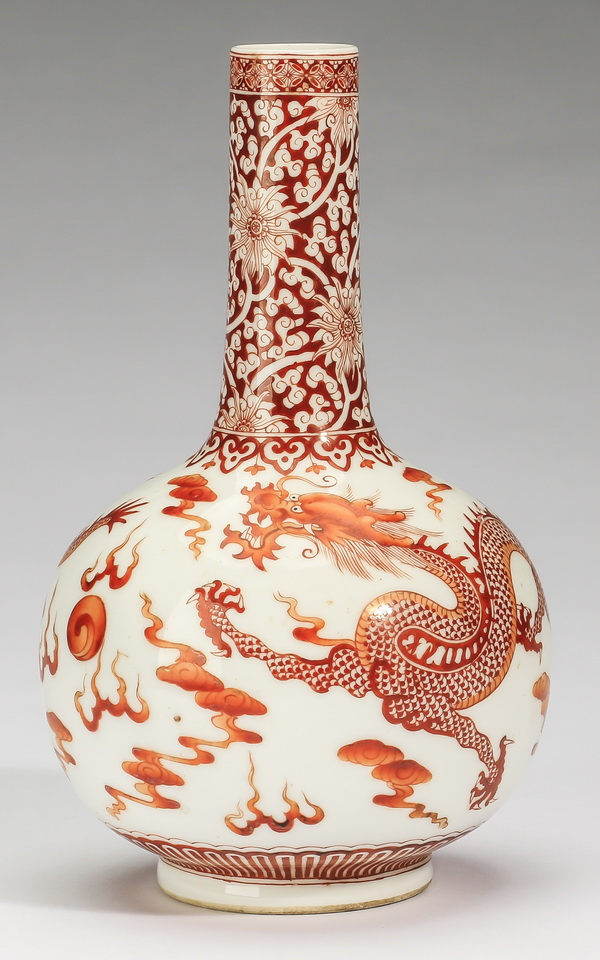 Chinese iron-red dragon vase, red Qianlong mark, 6