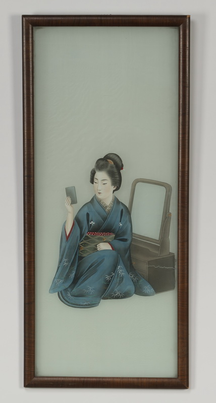 20th c. Japanese painting on cloth of geisha, framed