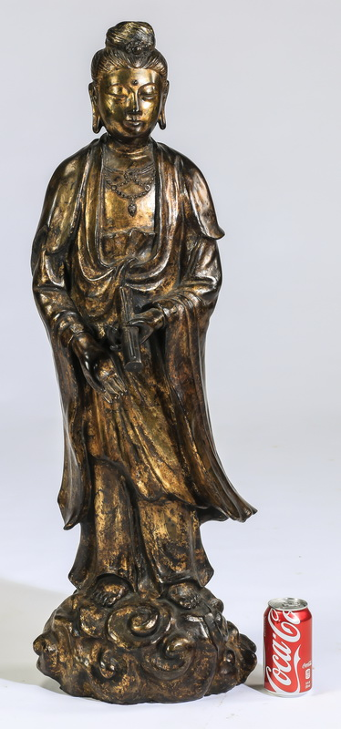 20th c. parcel gilt Guanyin sculpture, 36