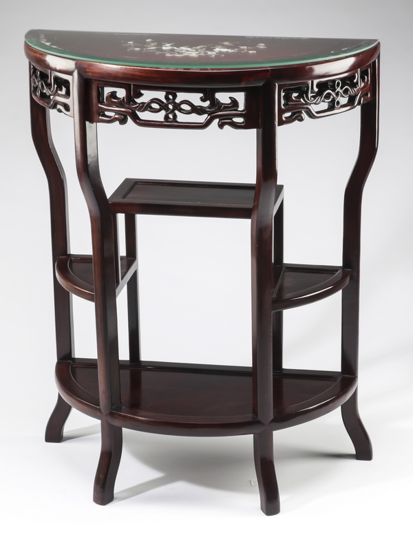 Chinese rosewood console table with mother of pearl