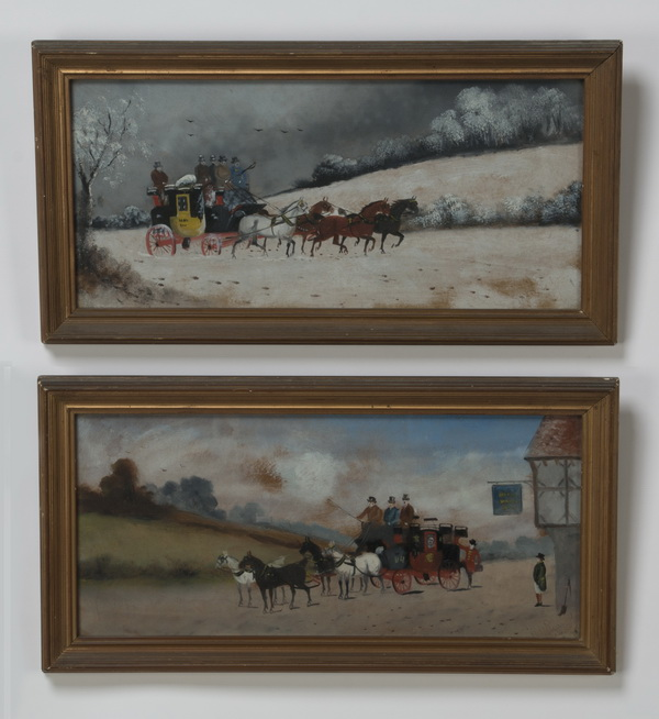 (2) Early 20th c. paintings of stagecoaches