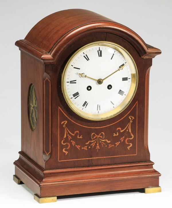 English marquetry inlaid mahogany mantel clock, 14