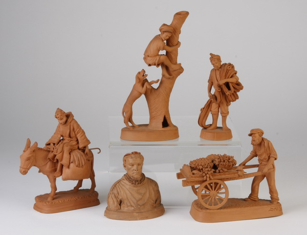 Group of five Italian carved terracotta figures