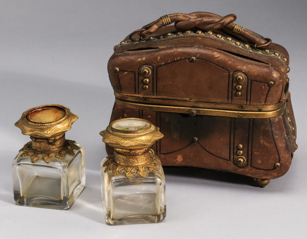 19th century French leather perfume casket