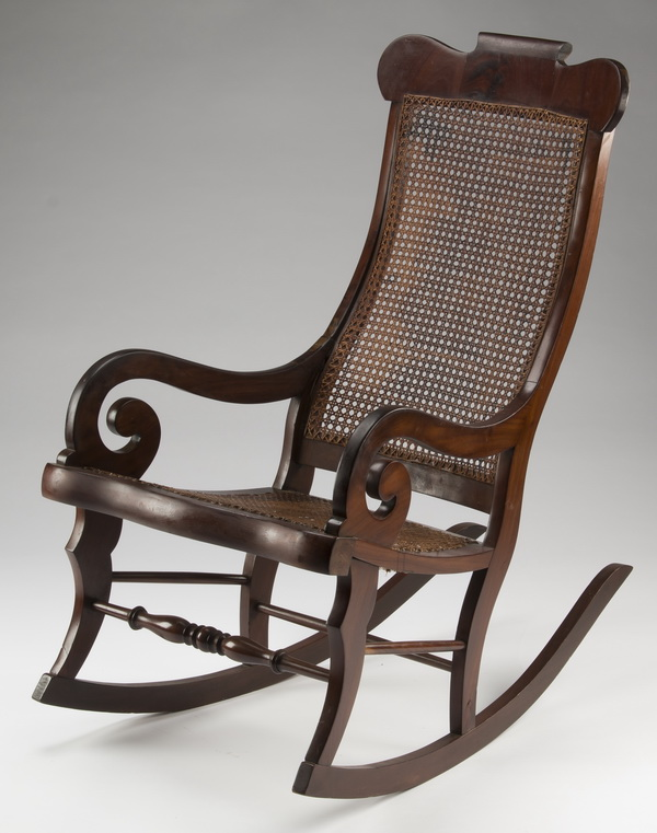 Federal style mahogany & cane rocking chair, 40
