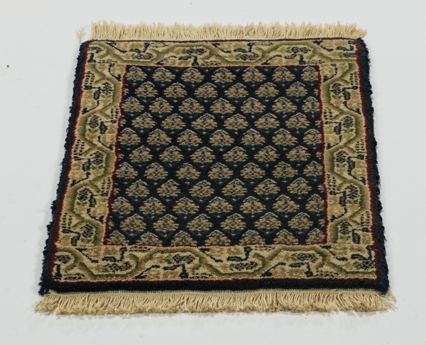 Hand knotted Sino Persian wool mat, 2' x 1'