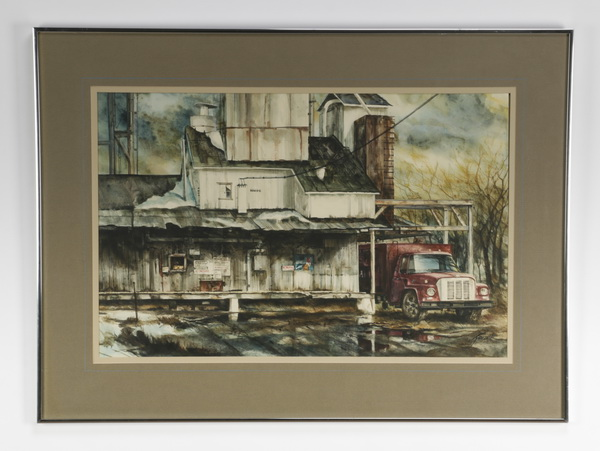 20th c. American W/c of truck and farm scene, signed