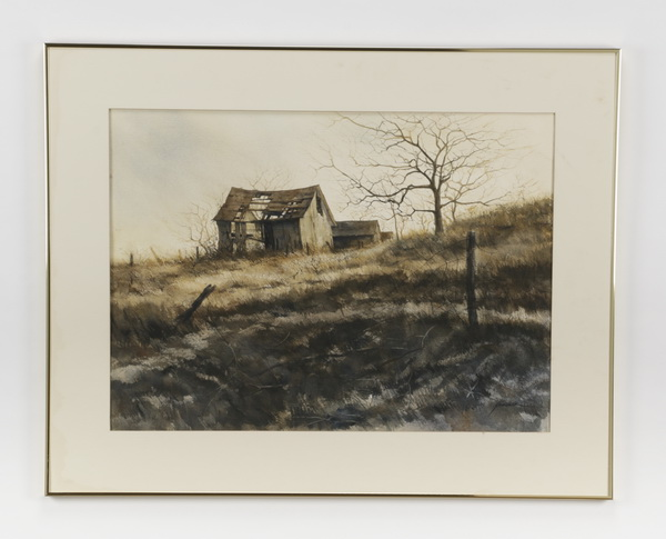 20th c. American W/c of an old barn in field, signed