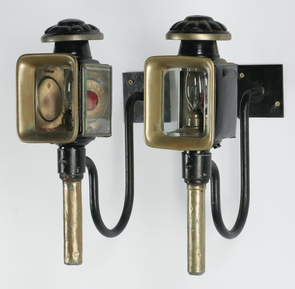 Pair of Victorian carriage lamps, electrified