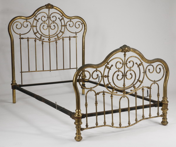 Late 19th c. full size brass bed