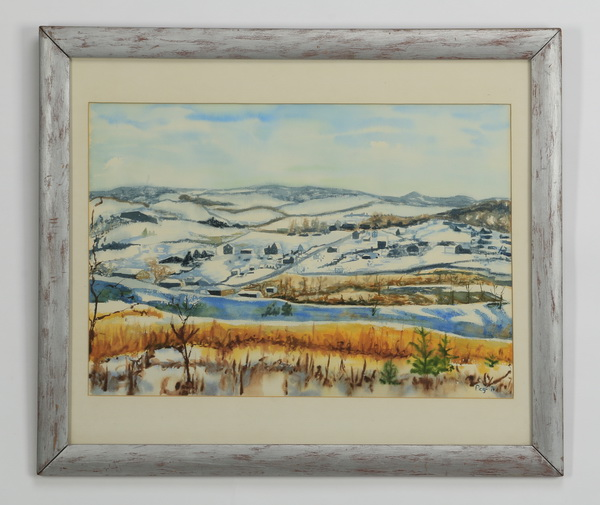 Contemporary W/c, snowy landscape, signed, dated