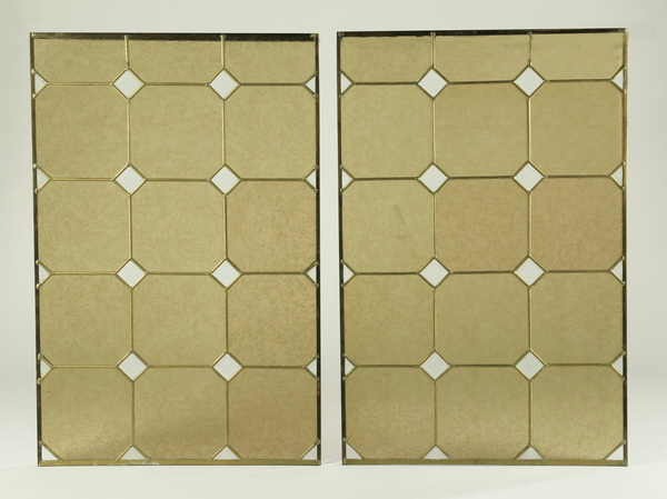 Pair of leaded glass panels, 39