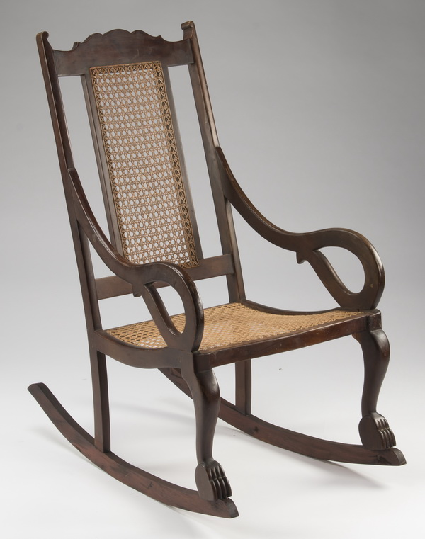 West Indies style mahogany & cane rocking chair, 39