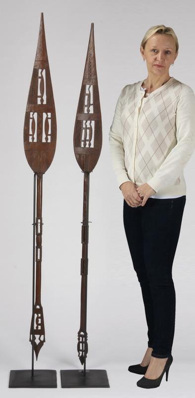 (2) 19th c. ceremonial paddles, Nigeria, 67