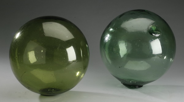 (2) Fisherman's green glass net markers