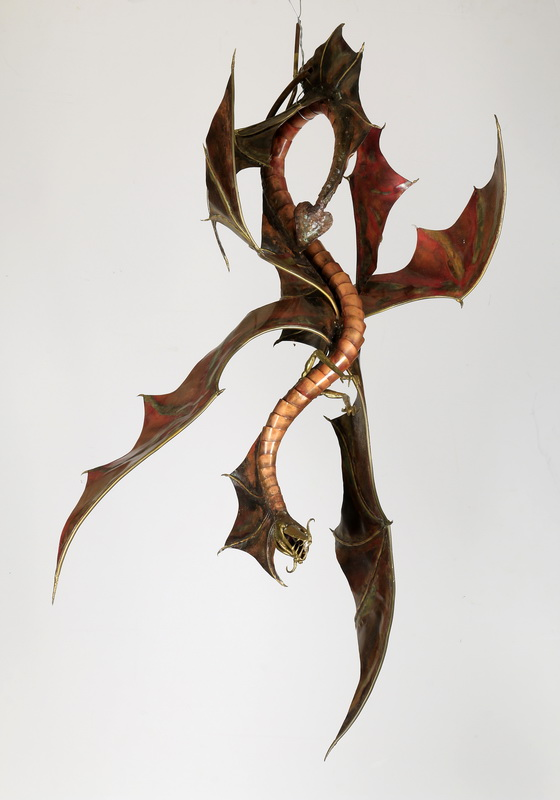 Mixed metal hanging dragon sculpture, 32