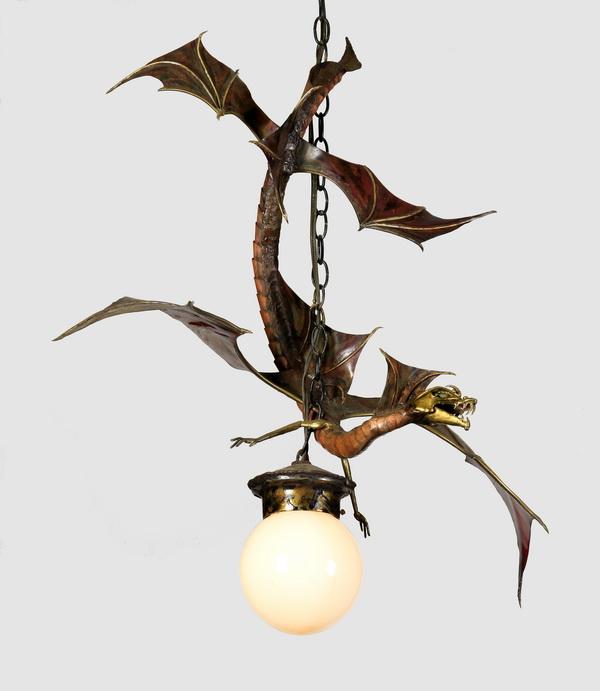 Mixed metal dragon light fixture, 31