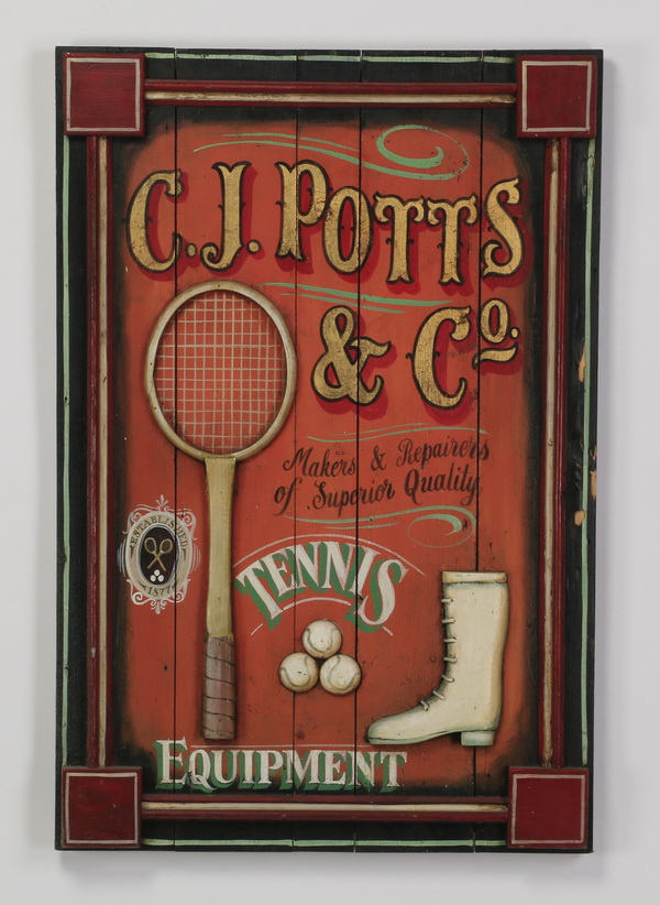 Vintage style tennis trade sign, 36