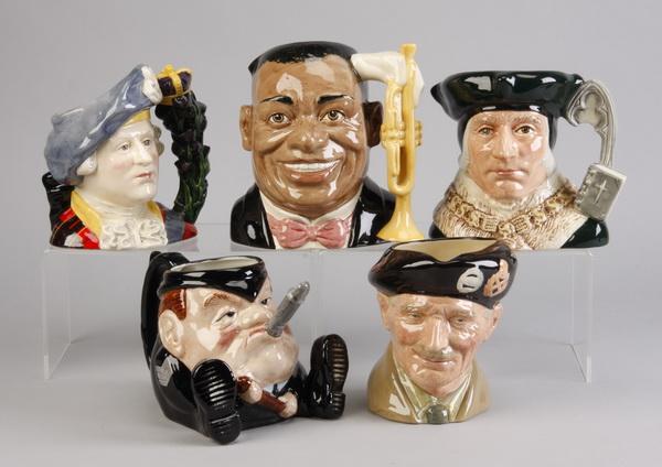 (5) Original vintage Toby mugs
