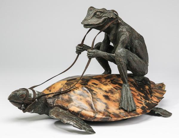 Bronze sculpture of a frog riding a tortoise, 17
