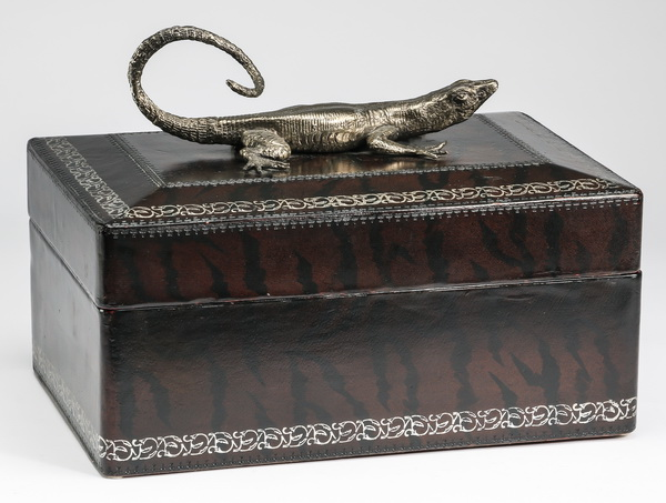 Leather covered wood box with silvered lizard, 14