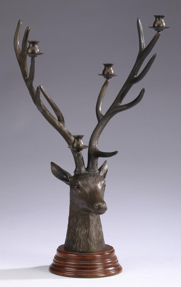 Bronze figural deer candelabrum, 20