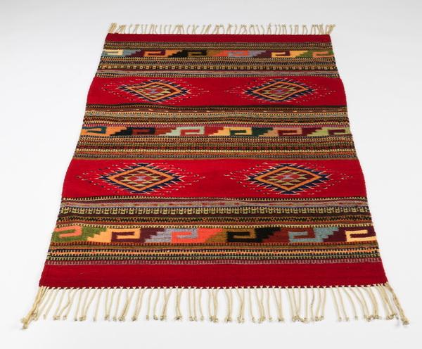 Southwestern style wool flat weave rug, 57