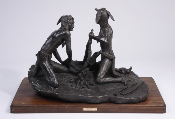 Bronze sculpture, 'Smoke Signal' after Remington, 32