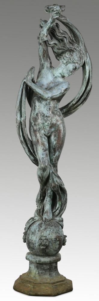 Bronze figural sculpture of a nude maiden, 65