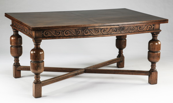 Jacobean style carved oak table, w/ leaves, 19th c.