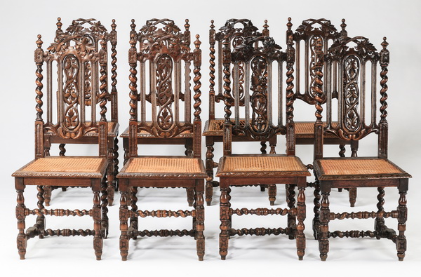 (8) Carved oak side chairs w/ cane seats, 19th c.