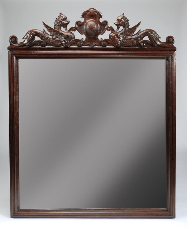 Oversized 19th c. Italian carved oak mirror, 68