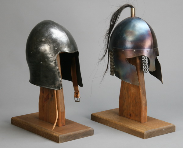 Pair of 20th c. medieval style helmets