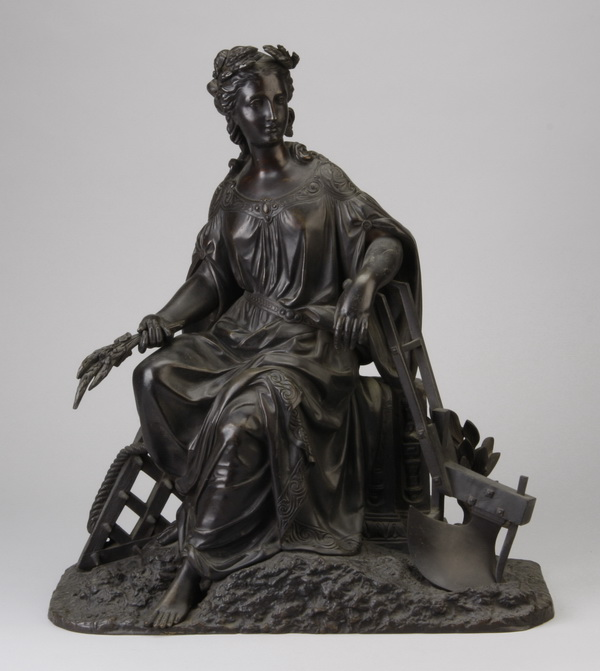 19th c. bronze figural sculpture, harvest maiden,17