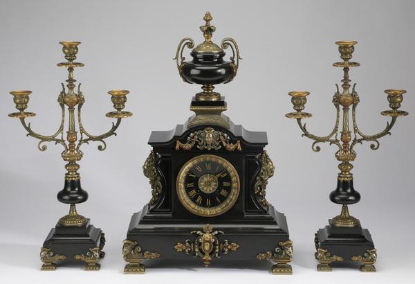 Gilt bronze and Belgian marble garniture set