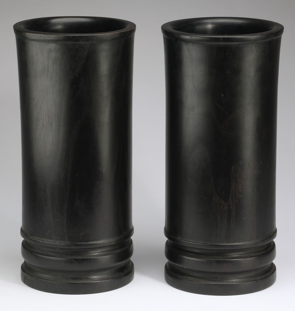 Chinese ebonized bamboo scroll pots, 13