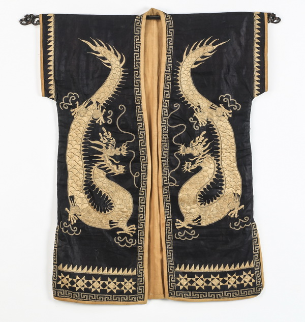 Japanese silk child's robe, with embroidered dragons