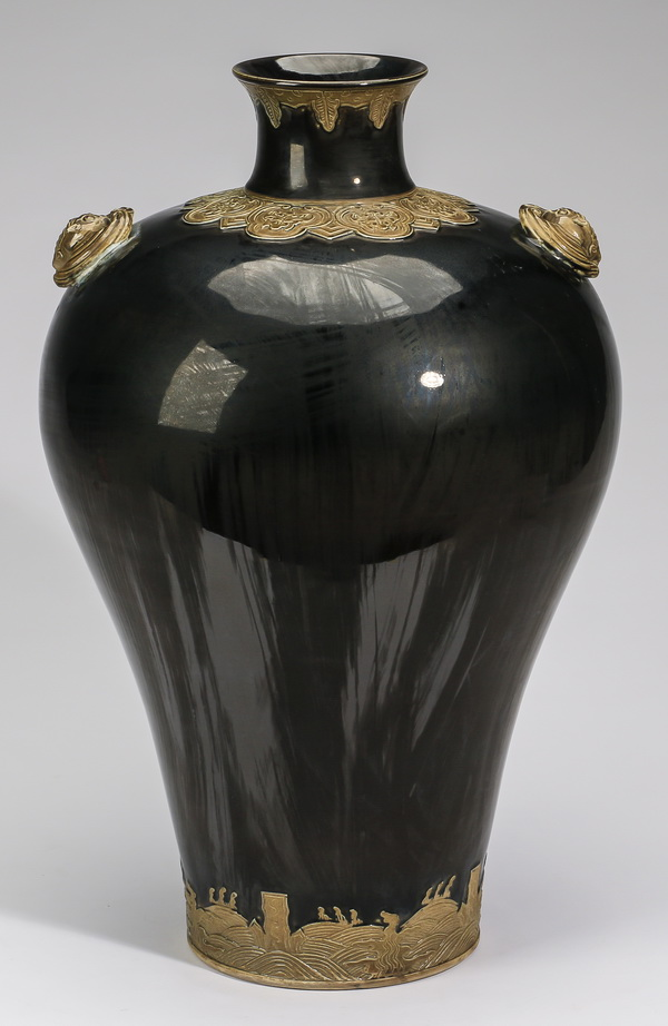 Chinese black meiping vase w/ relief molded ruyi, 18